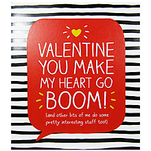 Buy Happy Jackson Valentine You make My Heart Go Boom Valentine's Day Card Online at johnlewis.com