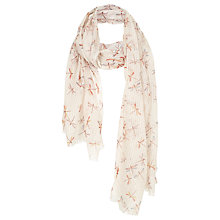 Buy Fat Face Dragonfly Textured Scarf, Ivory Online at johnlewis.com