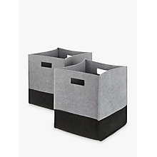 Buy House by John Lewis 2 Tone Felt Storage Box, Set of 2, Grey Online at johnlewis.com
