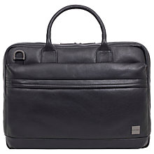 "Buy Knomo Foster Leather Briefcase for 14"" Laptops, Black Online at johnlewis.com"