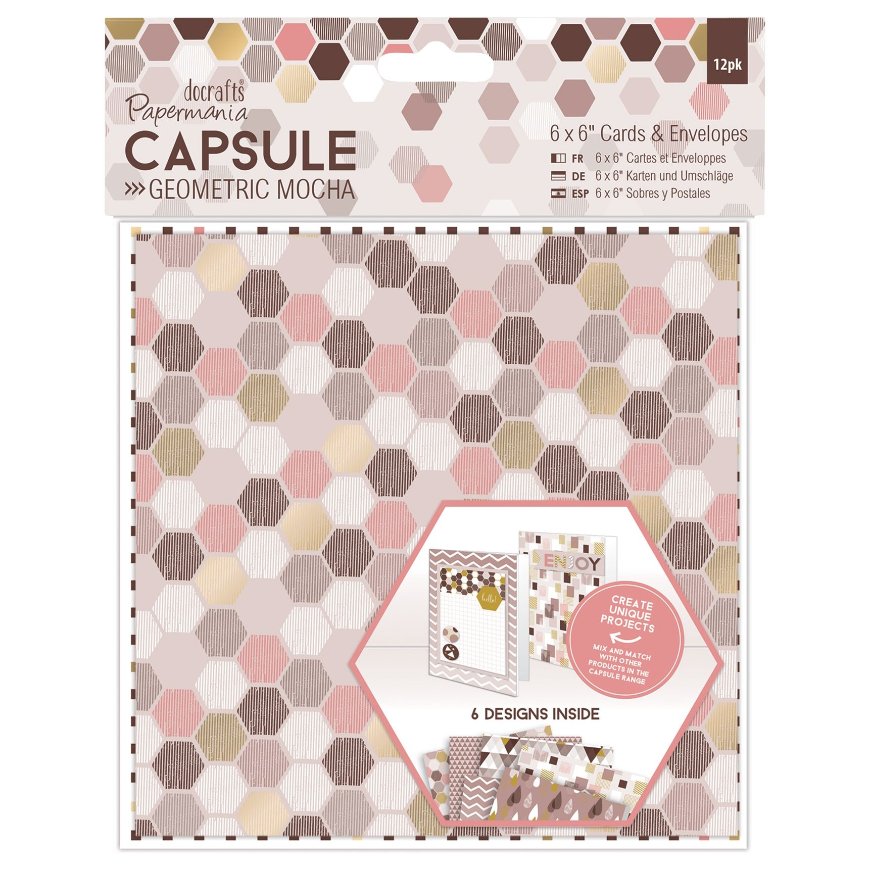 DoCrafts Docrafts 6 x 6 Geometric Cards and Envelopes, Pack of 12, Mocha