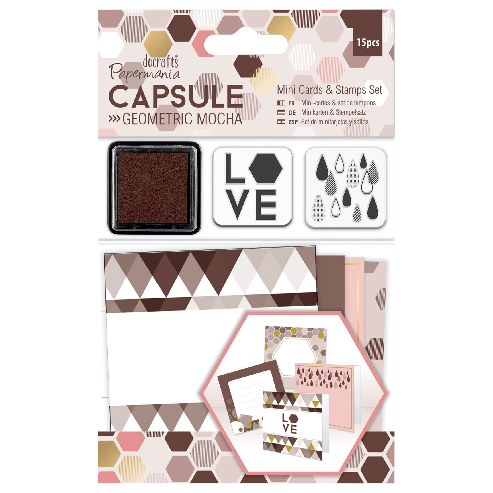 DoCrafts Docrafts Mini Cards and Stamps Set, Pack of 15