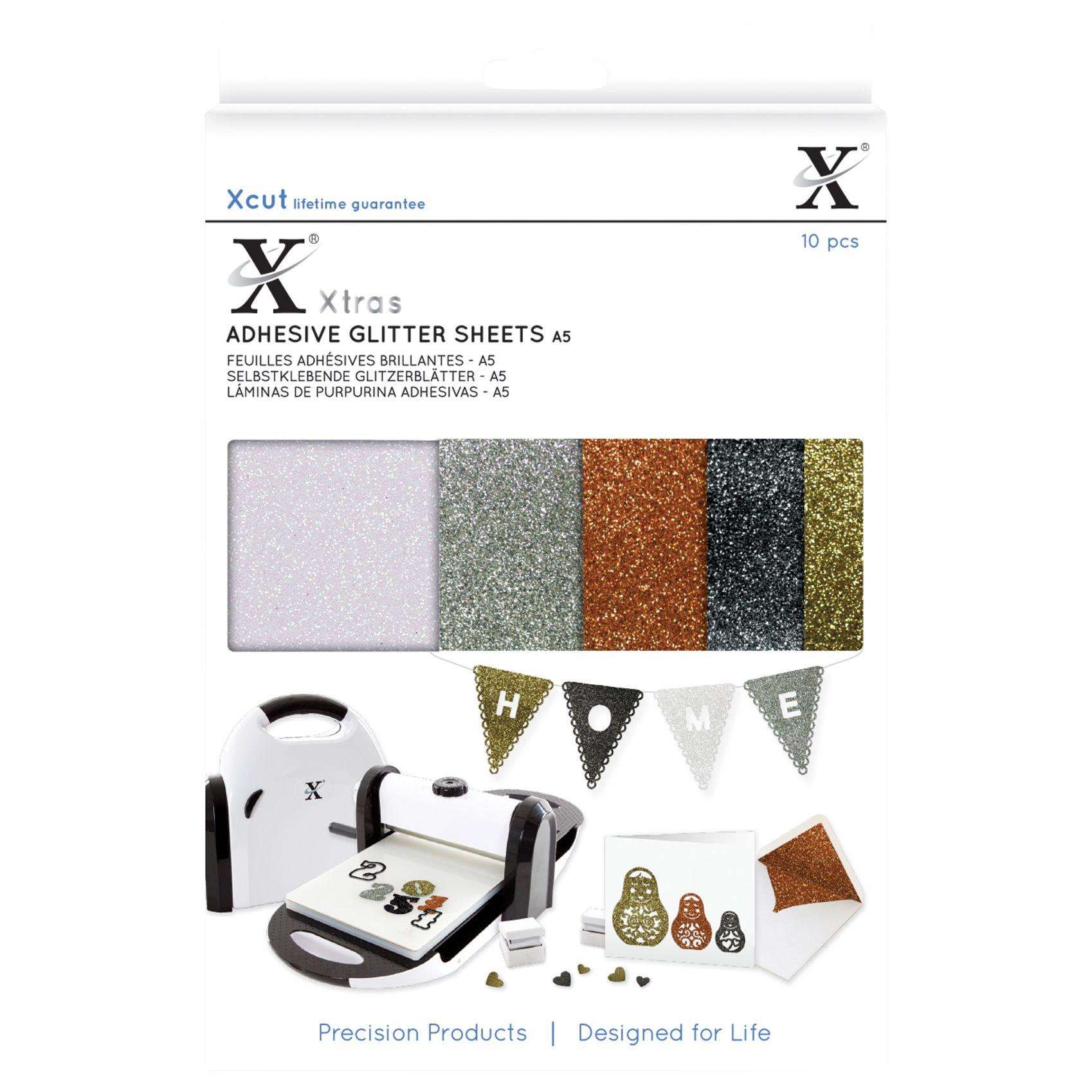 DoCrafts Docrafts Xcut A5 Adhesive Glitter Sheets, Pack of 10, Gold/Multi