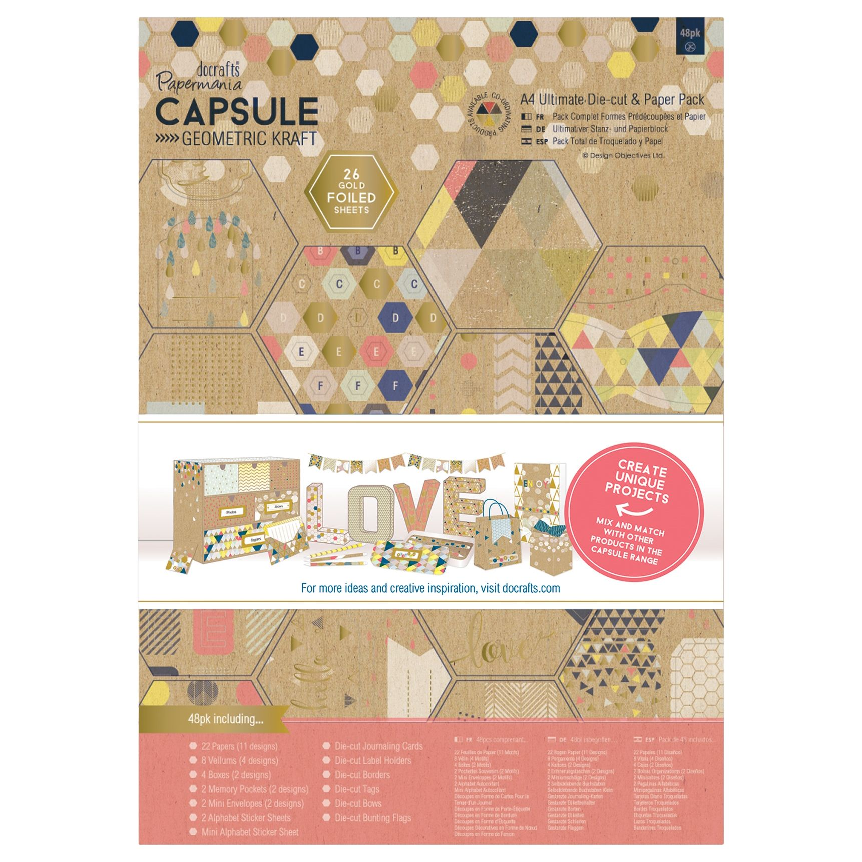 DoCrafts Docrafts A4 Ultimate Die Cut and Paper Kit, Pack of 48, Pastel