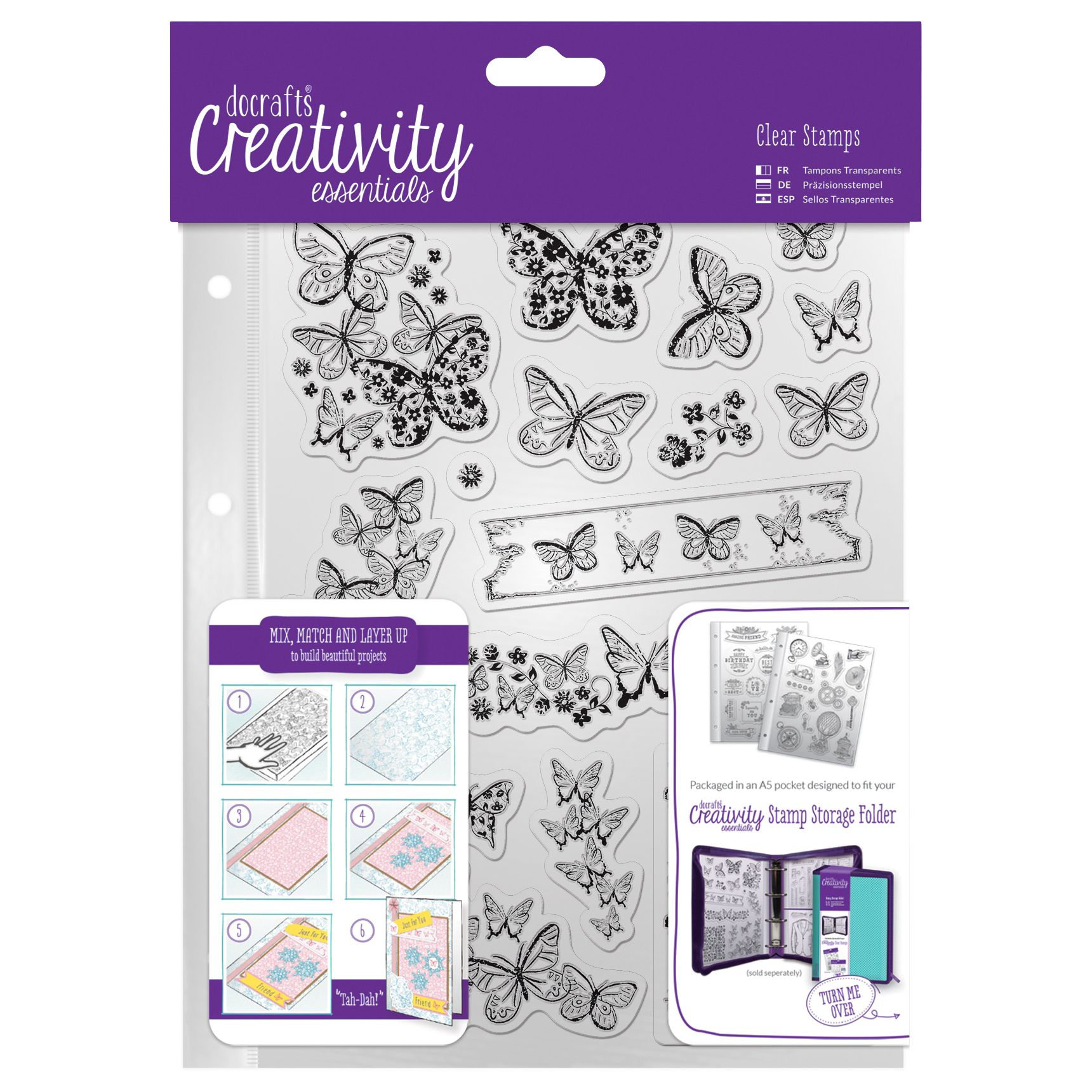 DoCrafts Docrafts A5 Butterfly Stamps, Pack of 16, Clear