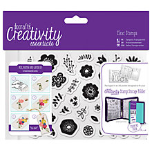 Buy Docrafts A6 Folk Floral Stamps, Pack of 40, Clear Online at johnlewis.com