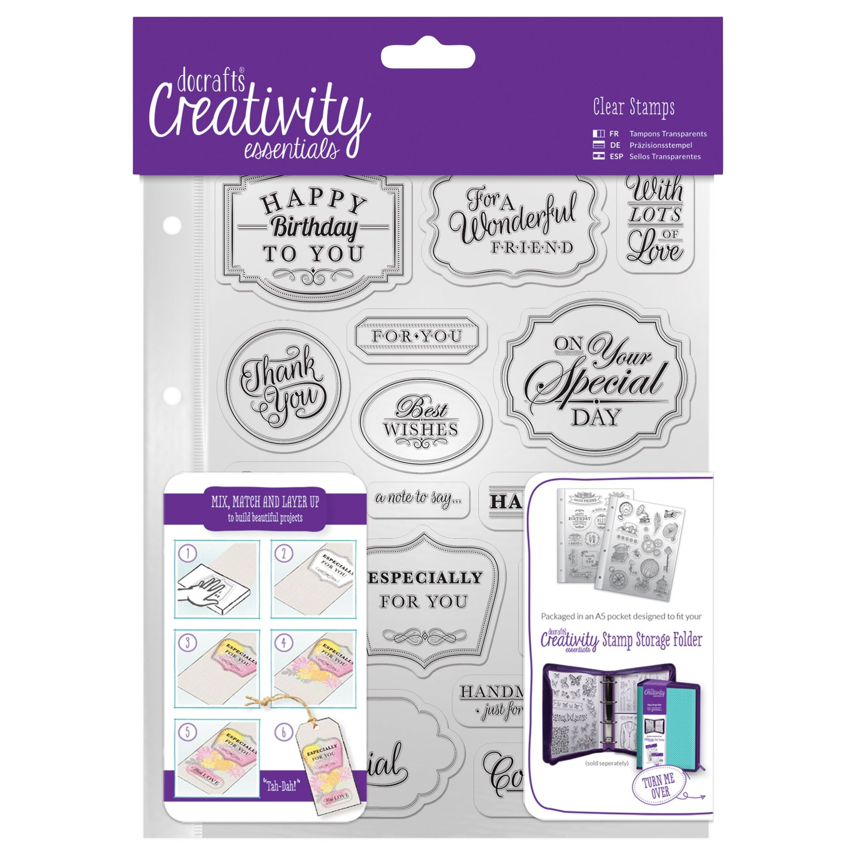 DoCrafts Docrafts A5 Traditional Sentiment Stamps, Pack of 18, Clear