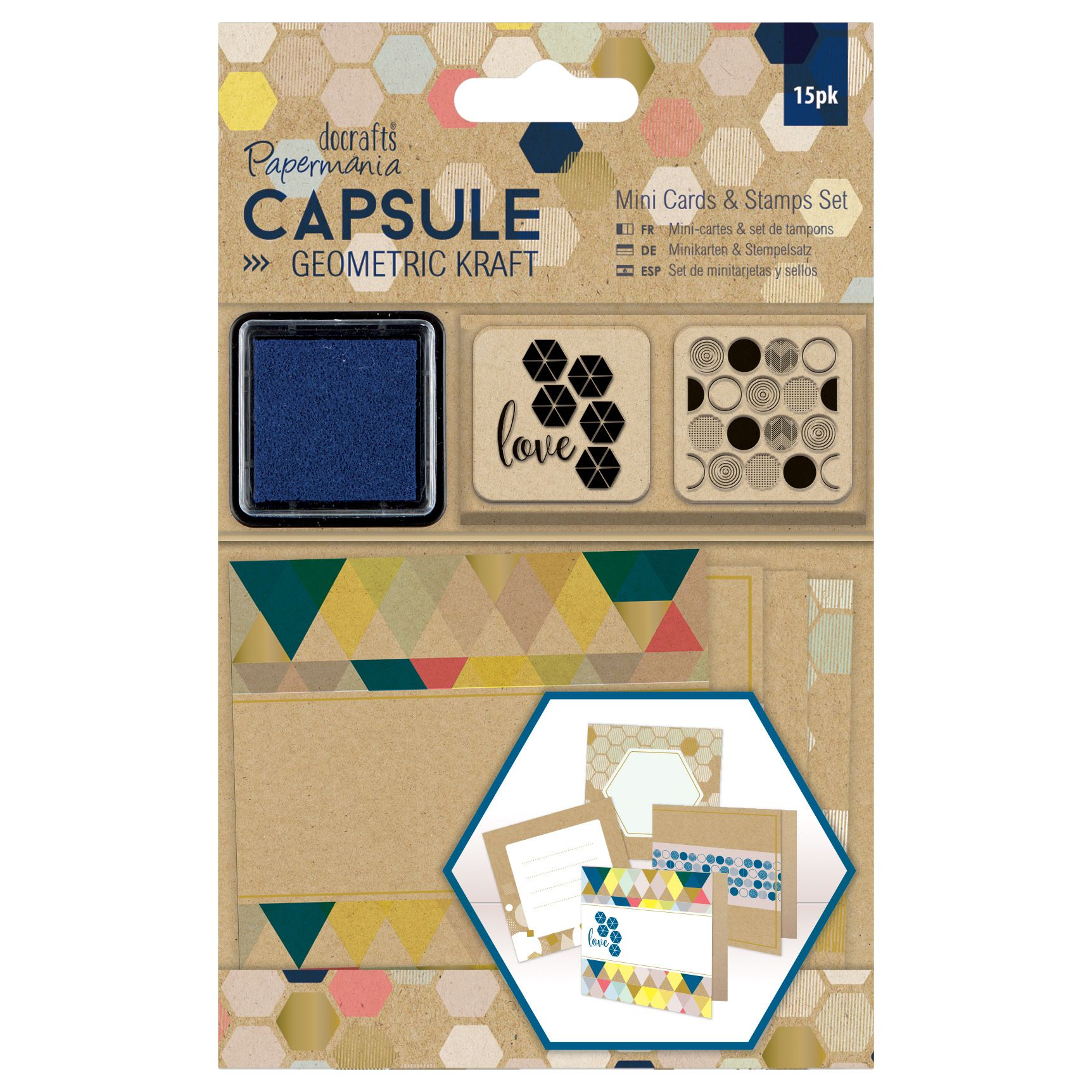 DoCrafts Docrafts Mini Cards and Stamps Kit, Pack of 15