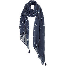 Buy Fat Face Flying Bird Print Scarf, Navy/White Online at johnlewis.com