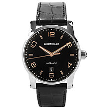Buy Montblanc 110337 Men's Timewalker Automatic Date Alligator Leather Strap Watch, Black Online at johnlewis.com