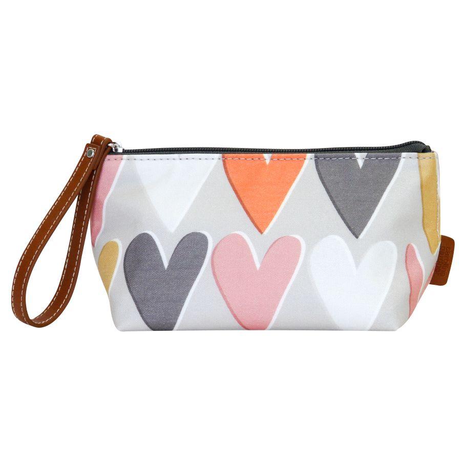 Caroline Gardner Caroline Gardner Hearts Cosmetic Bag, Small, Grey