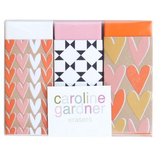Caroline Gardner Caroline Gardner Heart Erasers, Set of 3