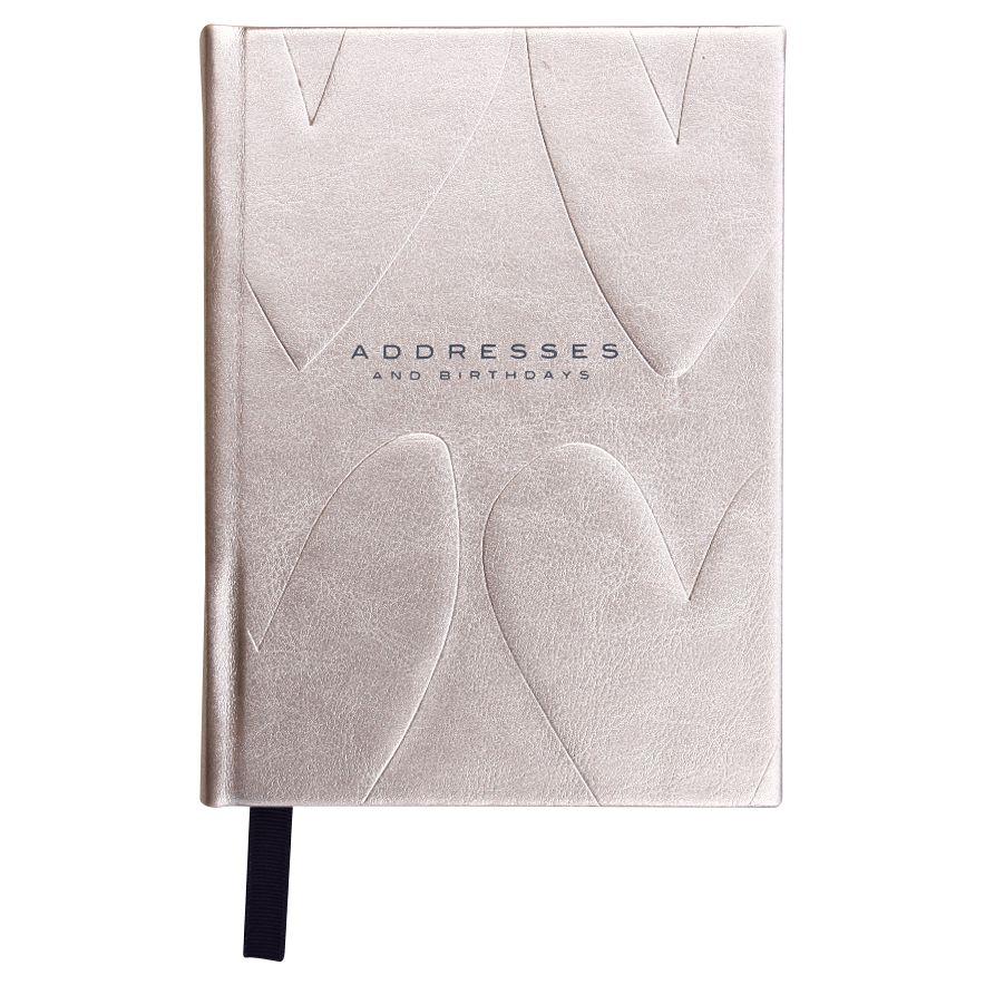 Caroline Gardner Caroline Gardner Hearts Embossed Metallic Address and Birthday Book, Rose Gold