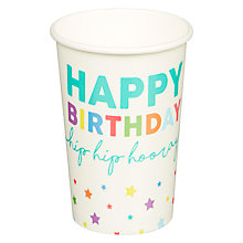 Buy John Lewis Happy Birthday Paper Cups Online at johnlewis.com