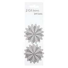 Buy John Lewis Daisy Gift Bows, White/Silver, Pack of 2 Online at johnlewis.com