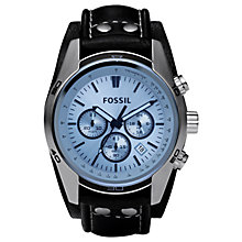 Buy Fossil CH2564 Men's Coachman Chronograph Date Leather Strap Watch, Black/Blue Online at johnlewis.com