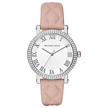 Buy Michael Kors Women's Norie Crystal Quilted Leather Strap Watch Online at johnlewis.com