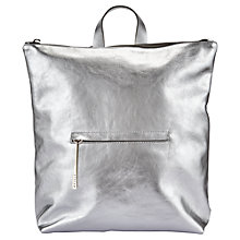 Buy Jigsaw Stevie Metallic Zip Backpack, Silver Online at johnlewis.com