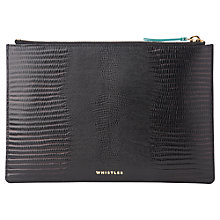 Buy Whistles Oca Small Lizard Clutch Bag, Black Online at johnlewis.com