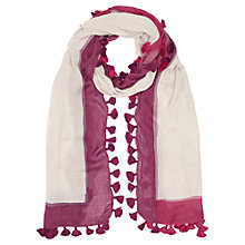 Buy Jigsaw Painted Edge Pom Scarf, Raspberry Online at johnlewis.com