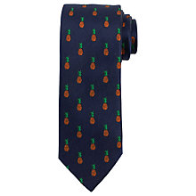 Buy John Lewis Pineapple Print Silk Tie, Navy Online at johnlewis.com