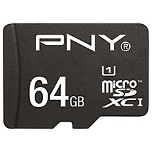 Buy PNY High Performance microSD Memory Card, 64GB, 80MB/s with SD Adapter Online at johnlewis.com
