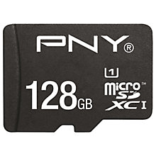 Buy PNY High Performance microSD Memory Card, 128GB, 80MB/s with SD Adapter Online at johnlewis.com