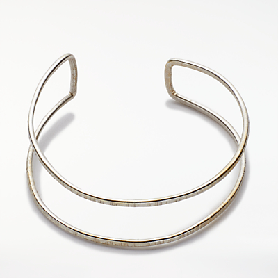 People Tree Double Bangle, Silver