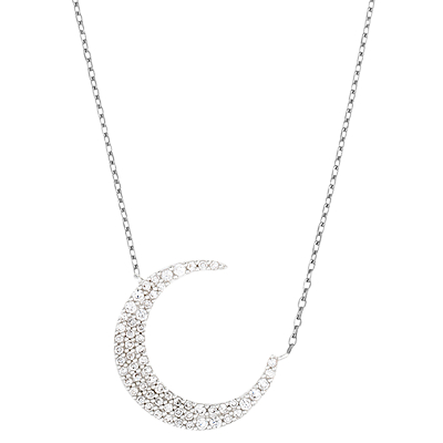Estella Bartlett Cubic Zirconia Crescent Moon Pendant Necklace
