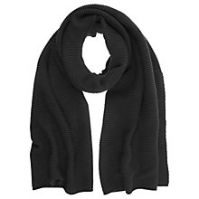 Buy Mint Velvet Ribbed Detail Scarf, Black Online at johnlewis.com