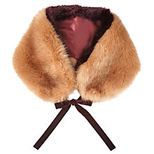 Buy Miss Selfridge Faux Fur Stole, Peach/Ginger Online at johnlewis.com