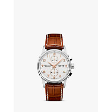 Buy Hamilton H32576515 Men's Jazzmaster Maestro Automatic Day Date Chronograph Leather Strap Watch, Tan/White Online at johnlewis.com