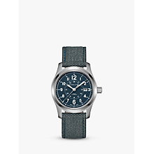 Buy Hamilton H70605943 Men's Khaki Field Automatic Date Fabric Strap Watch, Steel Blue Online at johnlewis.com