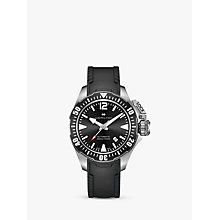 Buy Hamilton H77605335 Men's Khaki Navy Frogman Automatic Date Rubber Strap Watch, Black Online at johnlewis.com