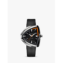 Buy Hamilton H24551331 Men's Ventura Elvis80 Triangular Date Rubber Strap Watch, Black Online at johnlewis.com