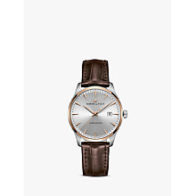 Buy Hamilton H32441551 Men's Jazzmaster Date Leather Strap Watch, Brown/Silver Online at johnlewis.com