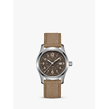 Buy Hamilton H70605993 Men's Khaki Field Automatic Date Fabric Strap Watch, Brown Online at johnlewis.com