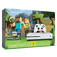 Buy Microsoft Xbox One S Console, 500GB, with Minecraft Bundle and Microsft Xbox One S Wireless Controller, White Online at johnlewis.com