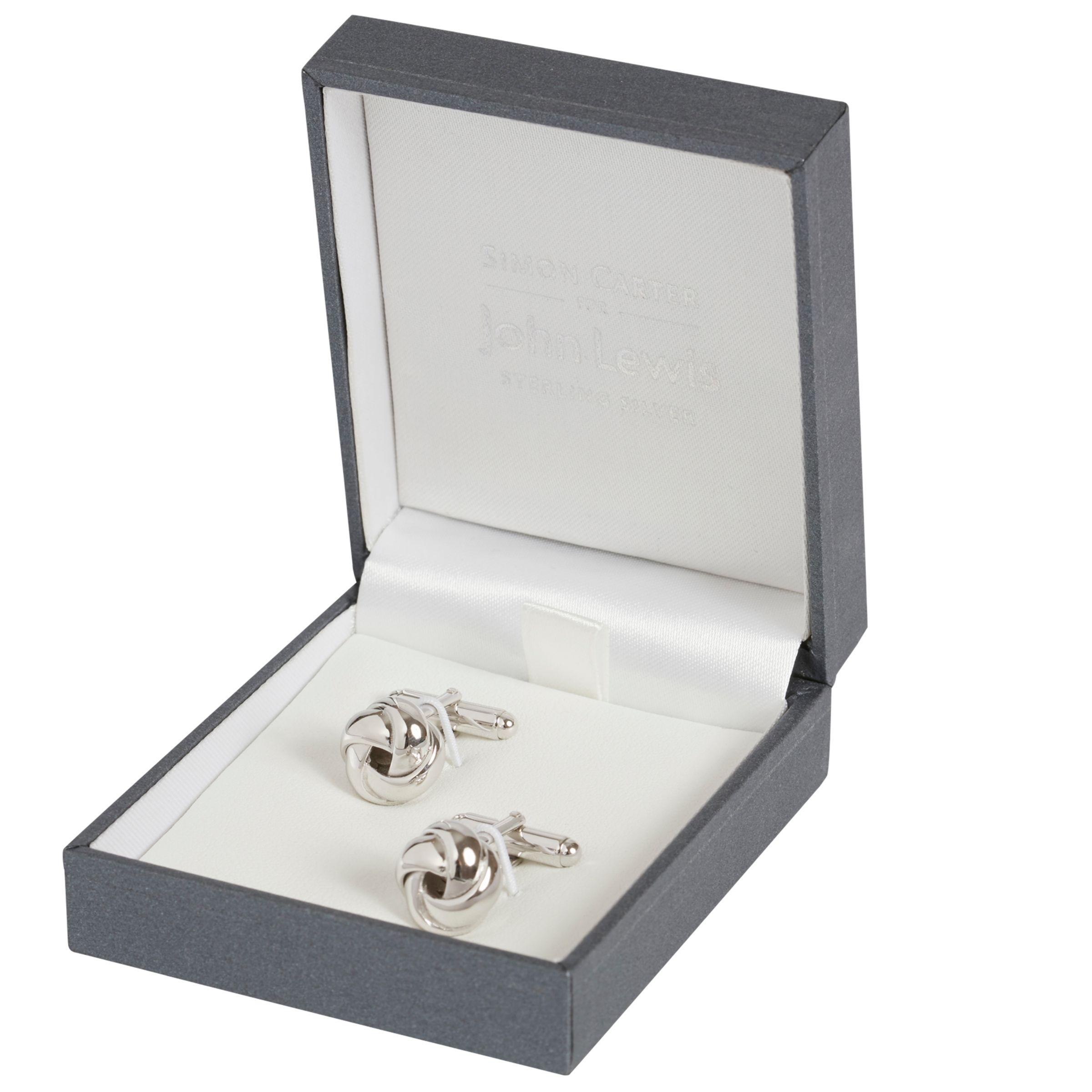 Simon Carter Simon Carter for John Lewis Sterling Silver Knot Cufflinks, Silver