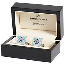 Buy Simon Carter for John Lewis Archive Square Tile Cufflinks, Blue Online at johnlewis.com