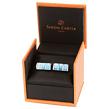 Buy Simon Carter Mother of Pearl Curve Cufflinks, Blue Online at johnlewis.com