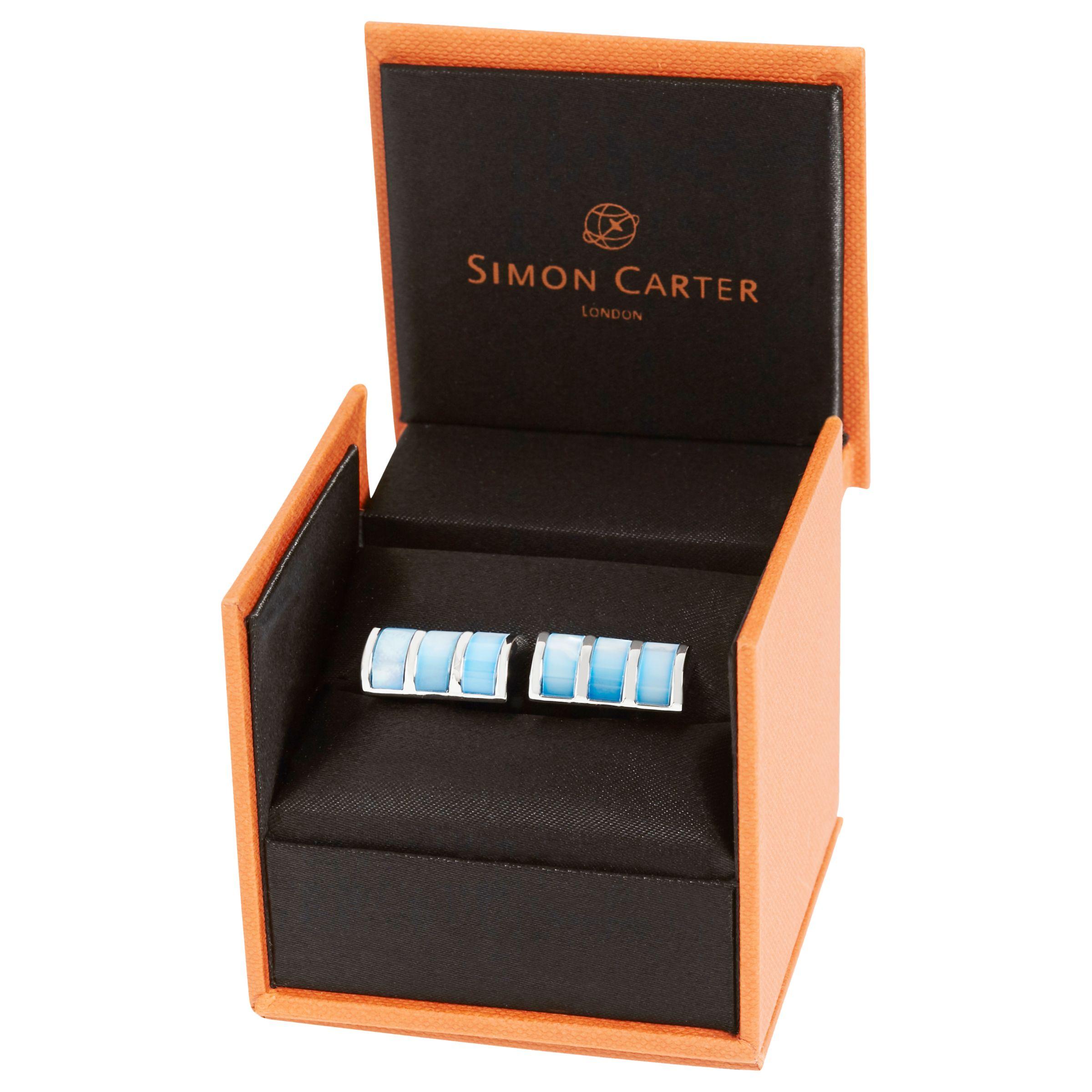 Simon Carter Simon Carter Mother of Pearl Curve Cufflinks, Blue
