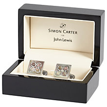 Buy Simon Carter for John Lewis Archive Mother of Pearl Tile Cufflinks, Grey Online at johnlewis.com