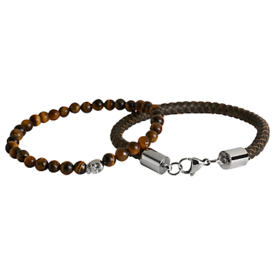 Simon Carter Double Bracelet Leather and Skull Bead Set, Brown