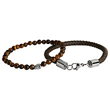 Buy Simon Carter Double Bracelet Leather and Skull Bead Set, Brown Online at johnlewis.com