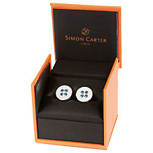 Buy Simon Carter Swarovski Crystal Button Cufflinks, Blue Online at johnlewis.com