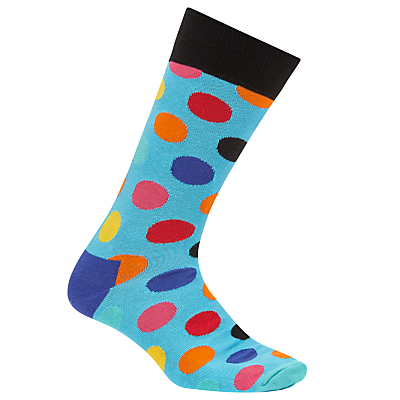 Happy Socks Big Dot Socks, One Size, Blue