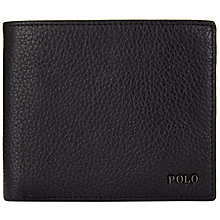Buy Polo Ralph Lauren Pebble Leather Metal Logo Wallet , Black Online at johnlewis.com