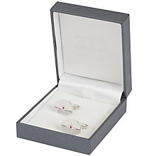 Buy Simon Carter for John Lewis Hexagonal Sterling Silver Ruby Cufflinks, Silver Online at johnlewis.com