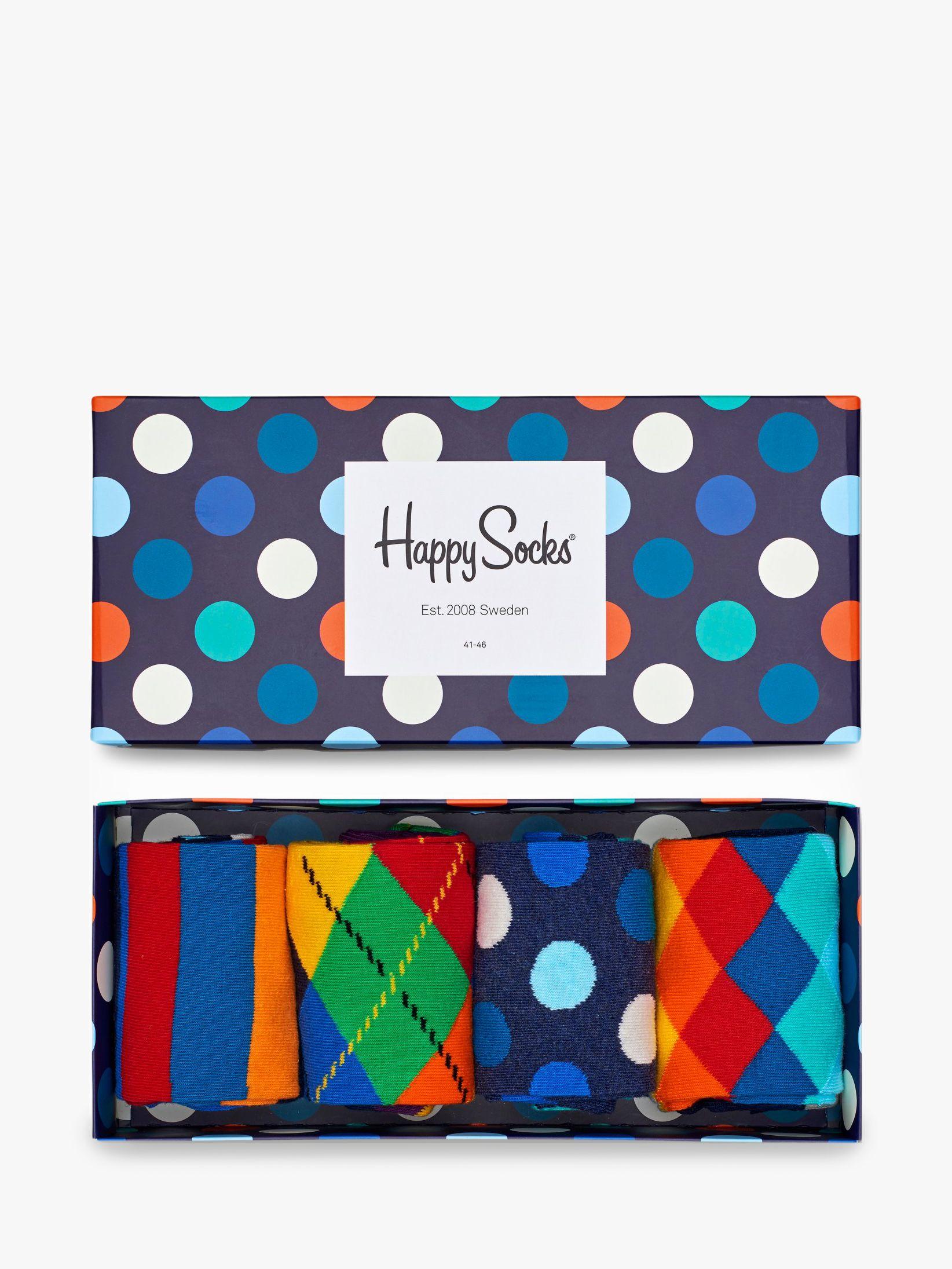 Happy Socks Happy Socks Bright Pattern Socks, One Size, Pack of 4, Multi